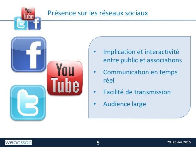 29  janvier  2015  29  janvier  2015   TITRE  DE  LA  SLIDE   Présence  sur  les  réseaux  soc...