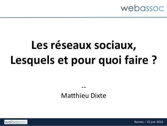 Nantes–15juin2016 Lesréseauxsociaux, Lesquelsetpourquoifaire?  -- Ma3hieuDixte