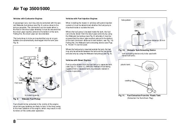 Webasto Airtop 35005000 Installation Instructions