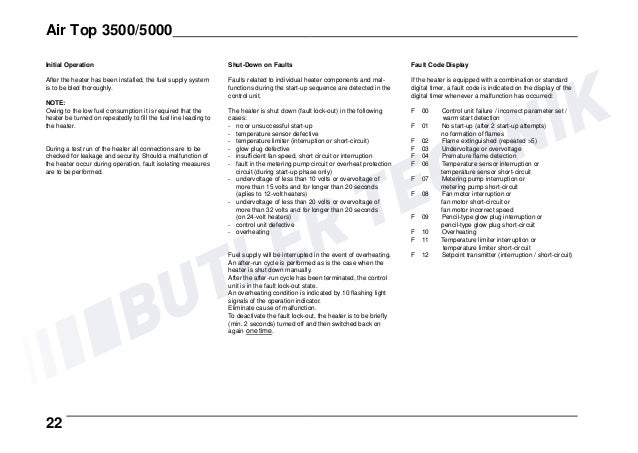 webasto heater operating instructions
