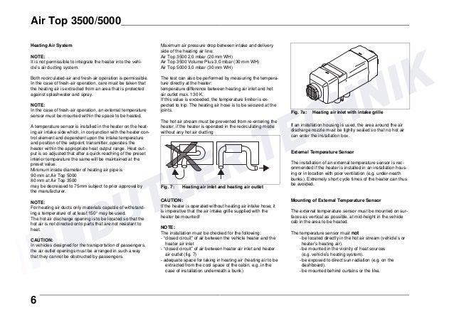 Webasto AIRTOP 3500/5000 Installation Instructions