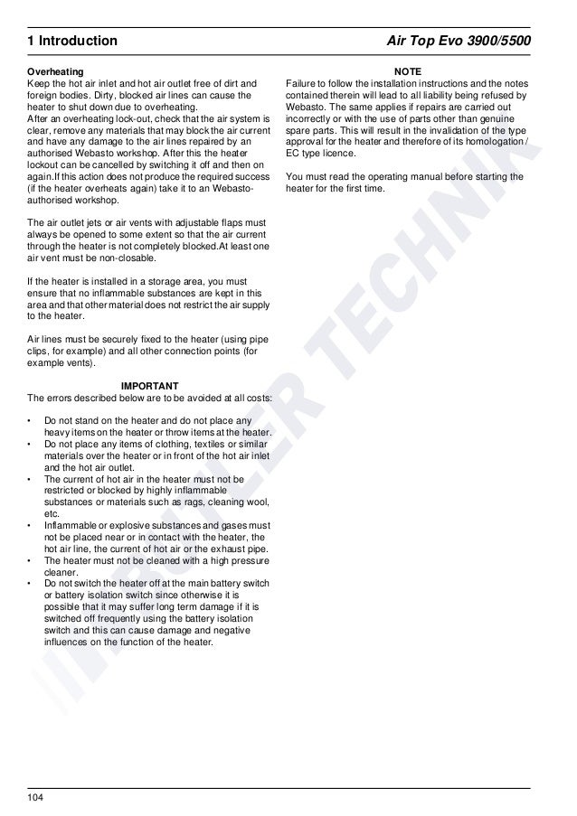 webasto heater operating instructions