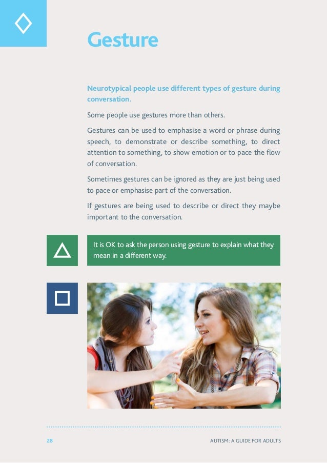 28 Autism: A Guide for Adults Gesture Neurotypical people use different types of gesture during conversation. Some people ...
