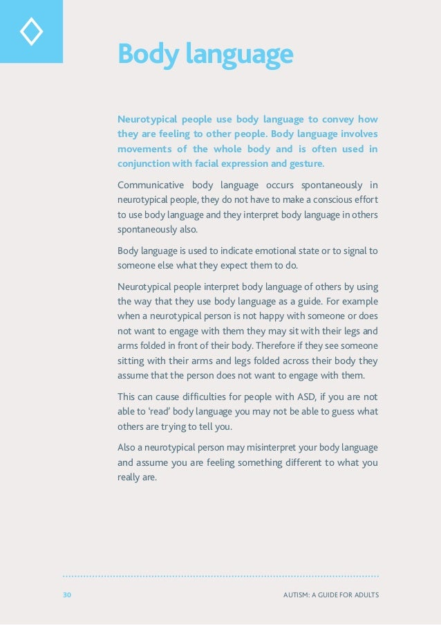 30 Autism: A Guide for Adults Body language Neurotypical people use body language to convey how they are feeling to other ...