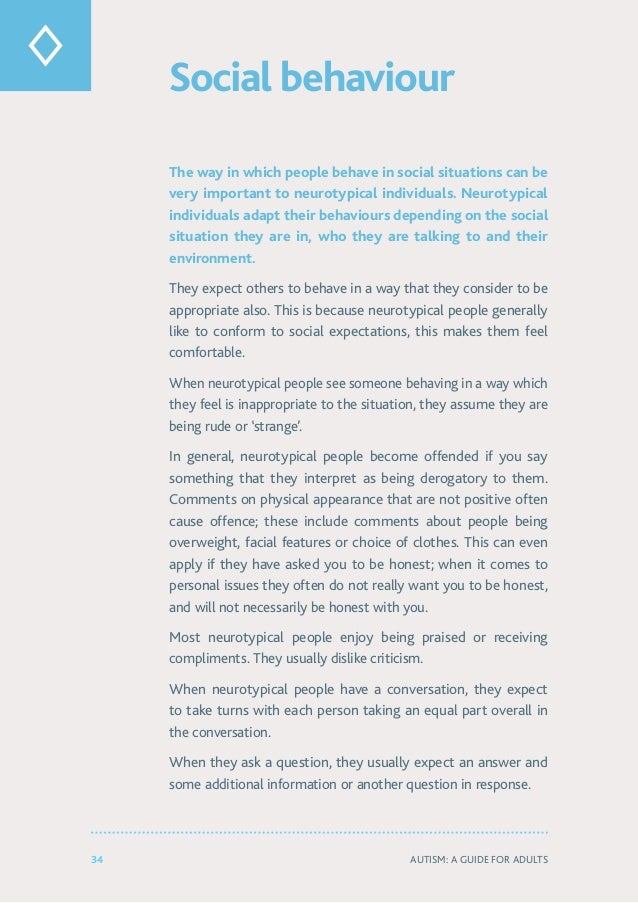 34 Autism: A Guide for Adults Social behaviour The way in which people behave in social situations can be very important t...