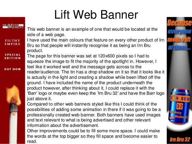 Lift Web Banner This web banner is an example of one that would be located at the side of a web page. I have used the main...