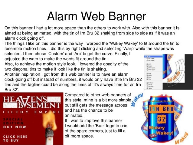 Alarm Web Banner On this banner I had a lot more space than the others to work with. Also with this banner it is aimed at ...