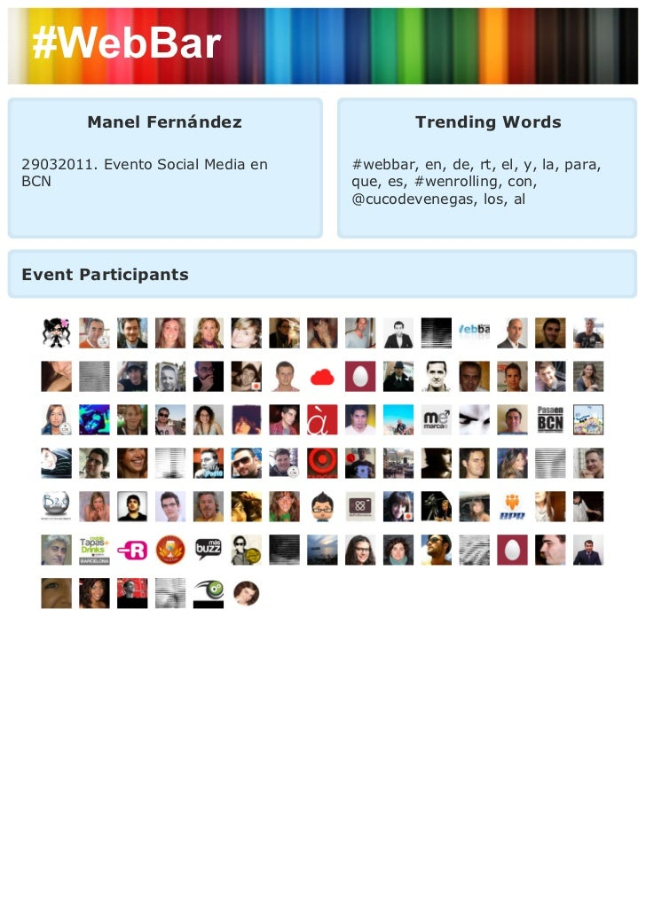 #WebBar        Manel Fernández                     Trending Words29032011. Evento Social Media en   #webbar, en, de, rt, e...