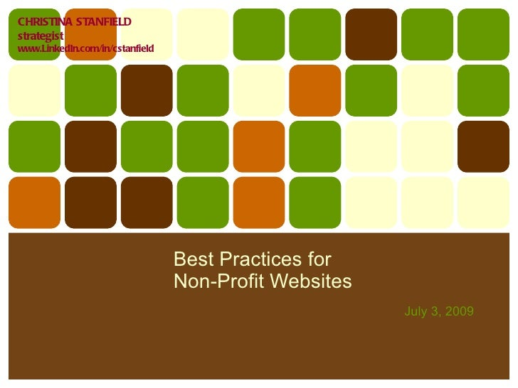 Best Practices for  Non-Profit Websites July 3, 2009