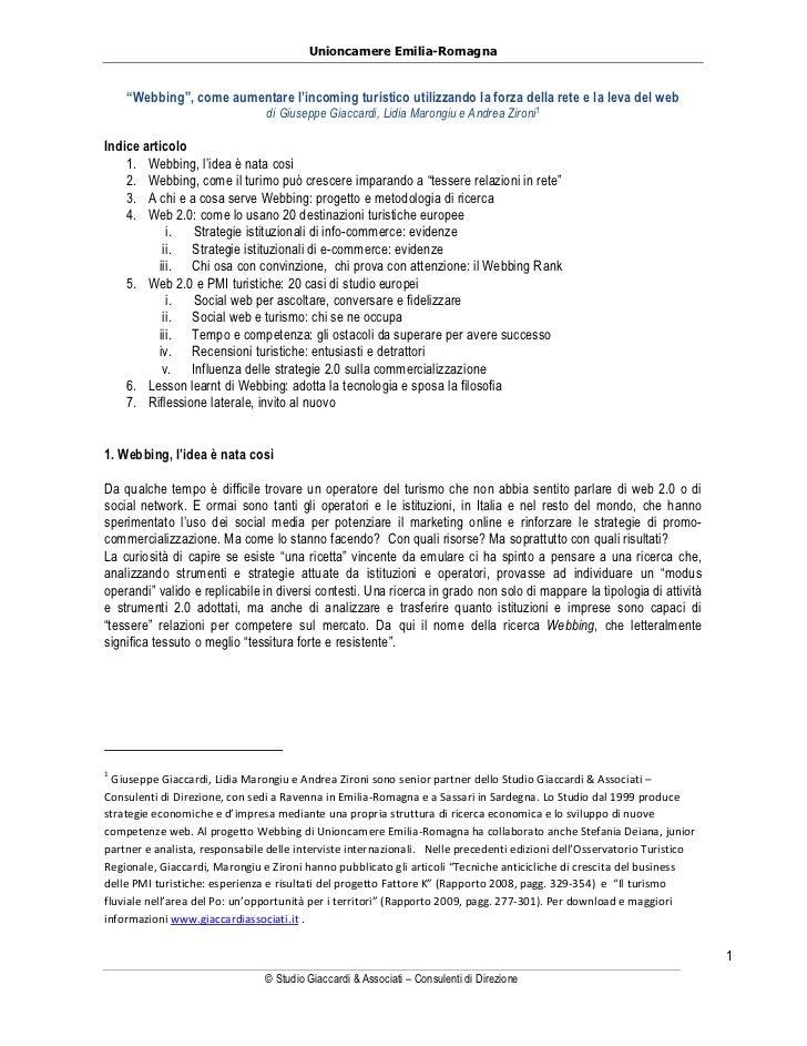 """Unioncamere Emilia-Romagna    """"Webbing"""", come aumentare l'incoming turistico utilizzando la forza della rete e la leva del..."""