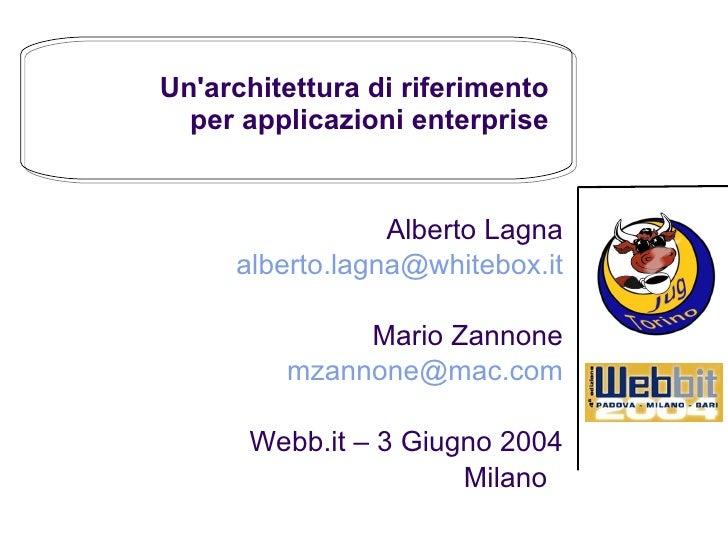 Un'architettura di riferimento  per applicazioni enterprise  Alberto Lagna [email_address] Mario Zannone [email_address] W...