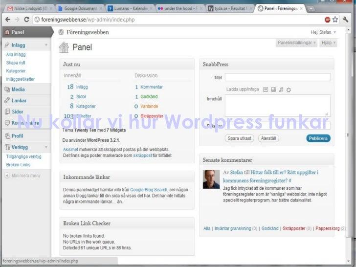 Nu kollar vi hur Wordpress funkar