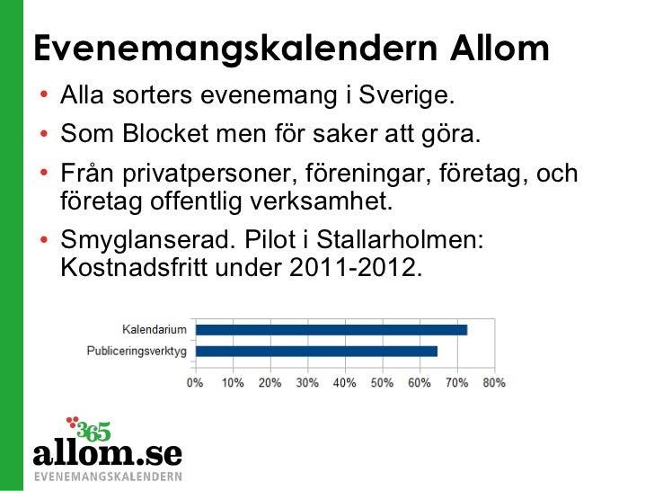 Evenemangskalendern Allom <ul><li>Alla sorters evenemang i Sverige. </li></ul><ul><li>Som Blocket men för saker att göra. ...