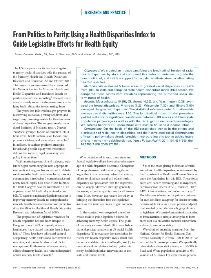 RESEARCH AND PRACTICEFrom Politics to Parity: Using a Health Disparities Index toGuide Legislative Efforts for Health Equi...