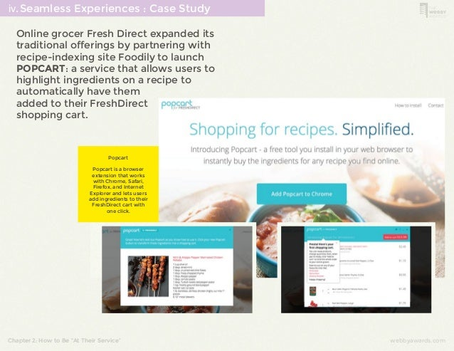 ⅳ.Seamless Experiences : Case Study  Online grocer Fresh Direct expanded its  traditional offerings by partnering with  re...