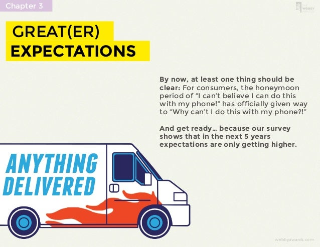 webbyawards.com  Chapter 3  GREAT(ER)  EXPECTATIONS  By now, at least one thing should be  clear: For consumers, the honey...