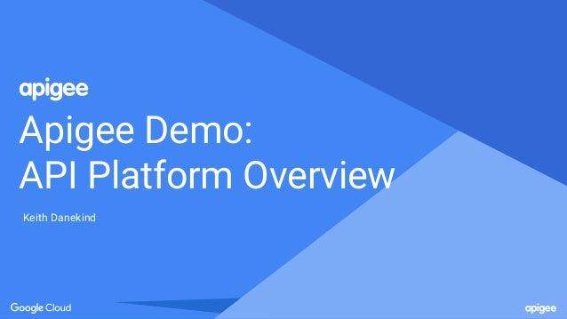 Apigee Demo: API Platform Overview Keith Danekind