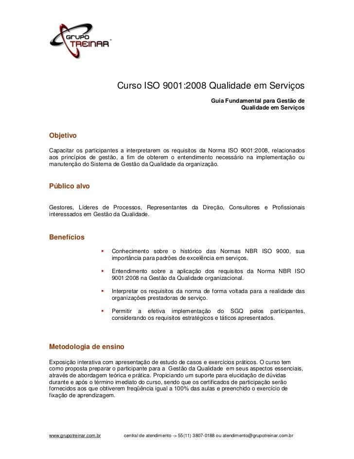 Curso ISO 9001:2008 Qualidade em Serviços                                                                     Guia Fundame...
