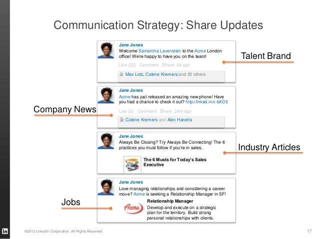17©2013 LinkedIn Corporation. All Rights Reserved. Communication Strategy: Share Updates Always Be Closing? Try Always Be ...