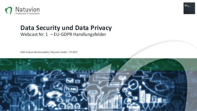 DataSecurityundDataPrivacy WebcastNr.1– EU-GDPRHandlungsfelder SKWSchwarzRechtsanwälte/NatuvionGmbH– 07.2017
