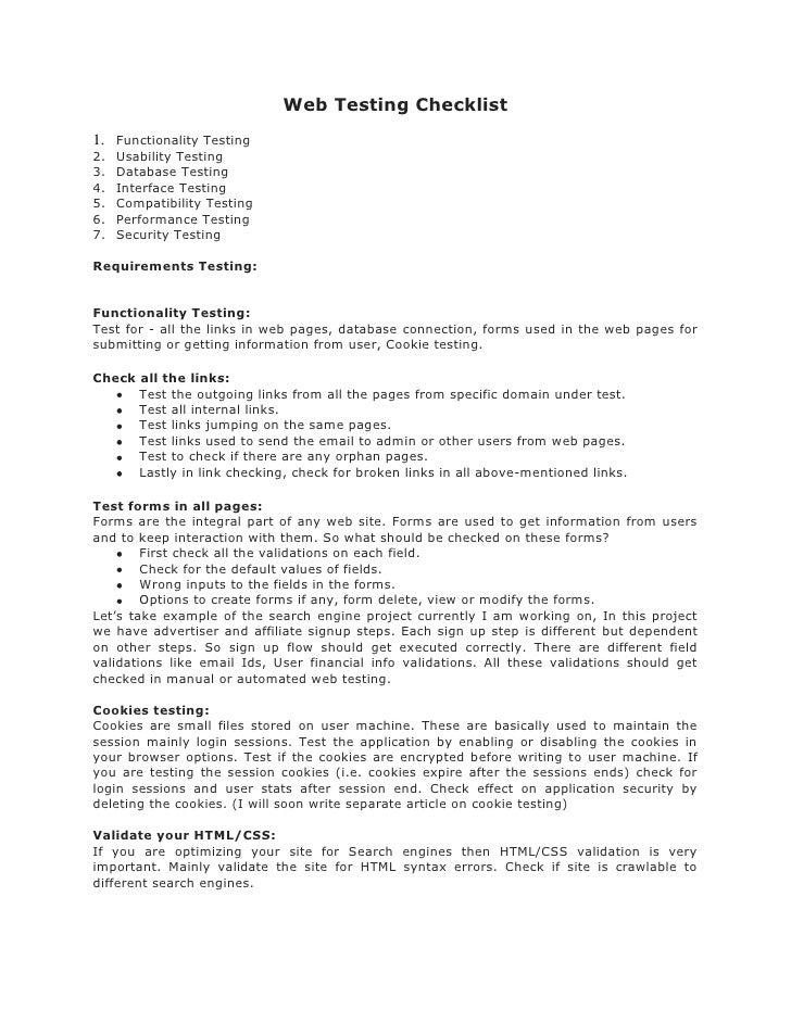 Web Testing Checklist 1. Functionality Testing 2.   Usability Testing 3.   Database Testing 4.   Interface Testing 5.   Co...