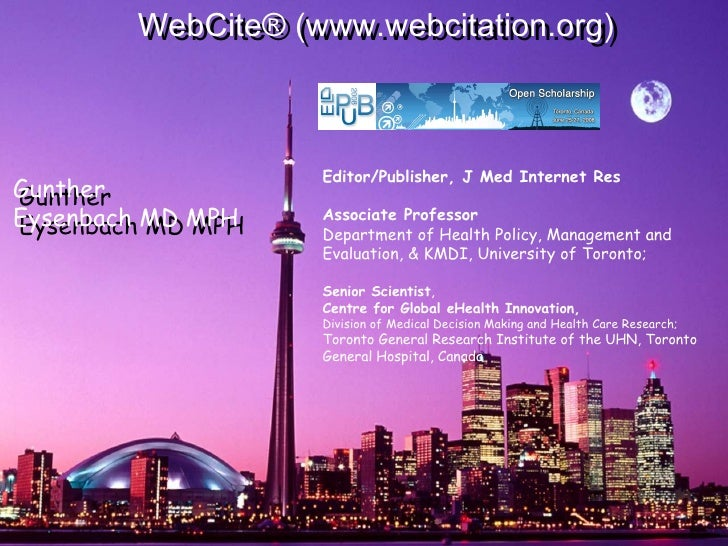 Editor/Publisher, J Med Internet Res Associate Professor Department of Health Policy, Management and Evaluation, & KMDI...