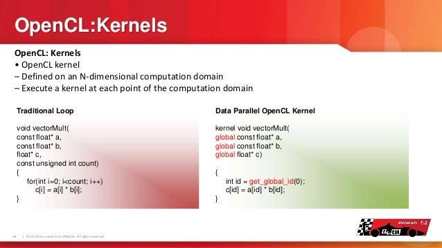OpenCL:Kernels OpenCL: Kernels • OpenCL kernel – Defined on an N-dimensional computation domain – Execute a kernel at each...
