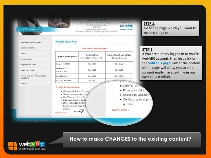 STEP 1:<br />Go to the page which you want to make change to.<br />STEP 2:<br />If you are already logged in to you're web...
