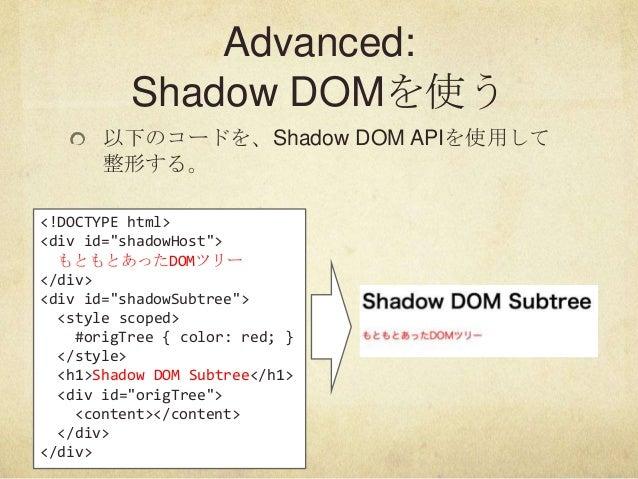"""Advanced:Shadow DOMを使う以下のコードを、Shadow DOM APIを使用して整形する。<!DOCTYPE html><div id=""""shadowHost"""">もともとあったDOMツリー</div><div id=""""shad..."""