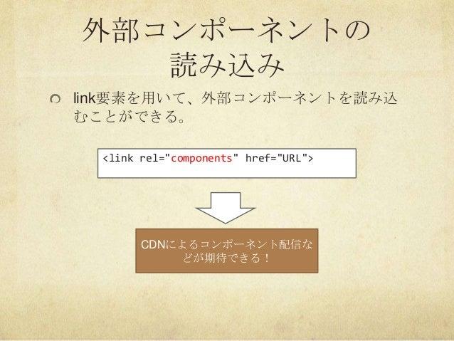 """外部コンポーネントの読み込みlink要素を用いて、外部コンポーネントを読み込むことができる。<link rel=""""components"""" href=""""URL"""">CDNによるコンポーネント配信などが期待できる!"""