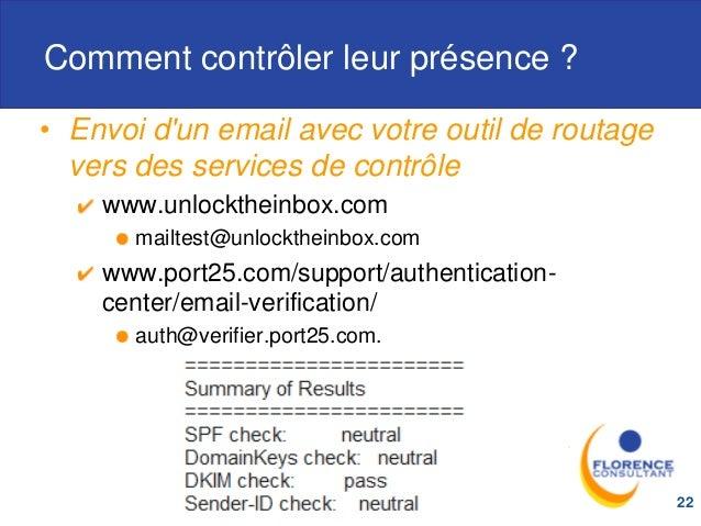Comment contrôler leur présence ? • Envoi d'un email avec votre outil de routage vers des services de contrôle www.unlockt...