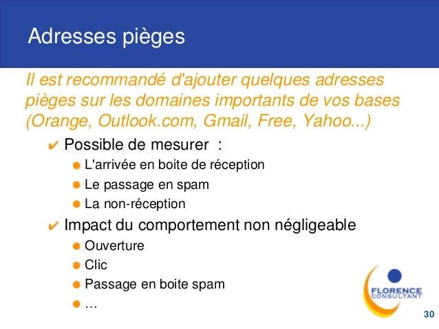 Adresses pièges Il est recommandé d'ajouter quelques adresses pièges sur les domaines importants de vos bases (Orange, Out...