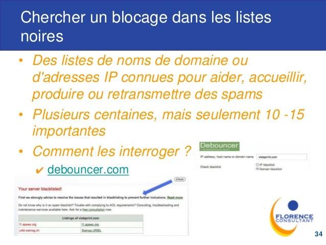 Chercher un blocage dans les listes noires • Des listes de noms de domaine ou d'adresses IP connues pour aider, accueillir...