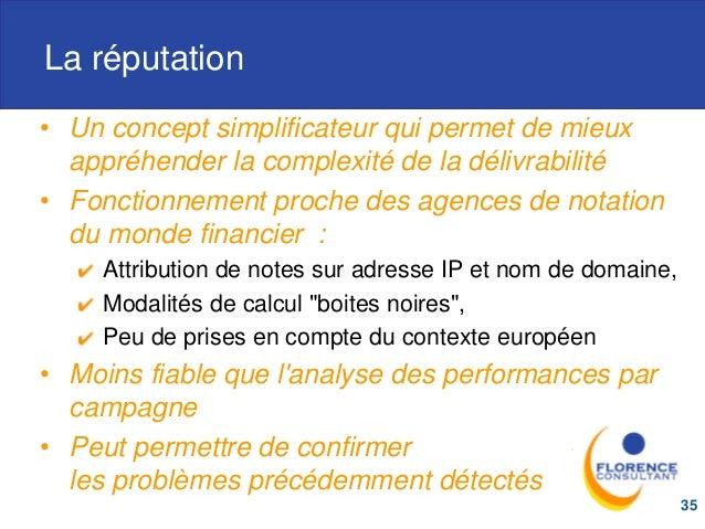 La réputation • Un concept simplificateur qui permet de mieux appréhender la complexité de la délivrabilité • Fonctionneme...