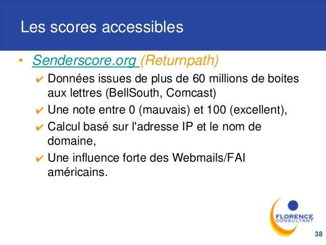 Les scores accessibles • Senderscore.org (Returnpath) Données issues de plus de 60 millions de boites aux lettres (BellSou...