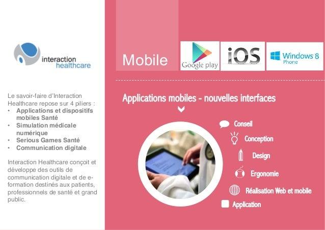 Mobile Conseil Conception Design Ergonomie Réalisation Web et mobile Application Applications mobiles - nouvelles interfac...