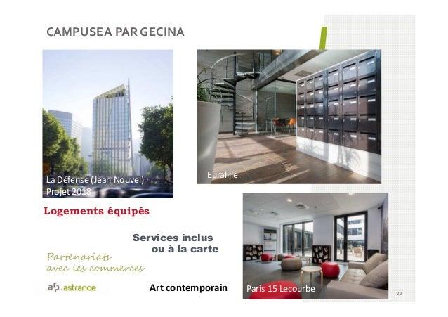 CAMPUSEA PAR GECINA 22 Paris 15 Lecourbe Euralille La Défense (Jean Nouvel) Projet 2018 Art contemporain Services inclus o...