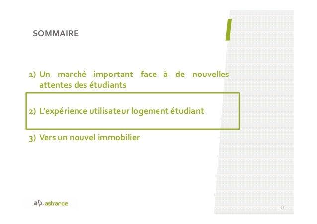 SOMMAIRE 25 1) Un marché important face à de nouvelles attentes des étudiants 2) L'expérience utilisateur logement étudian...