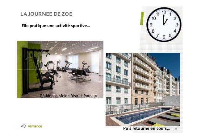 LA JOURNEE DE ZOE 33 Elle pratique une activité sportive… Résidence Melon District Puteaux Puis retourne en cours…