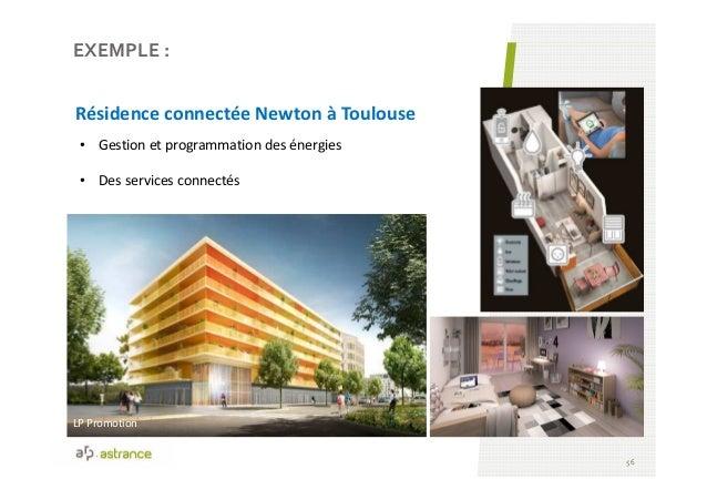 56 • Gestion et programmation des énergies • Des services connectés EXEMPLE : Résidence connectée Newton à Toulouse LP Pro...