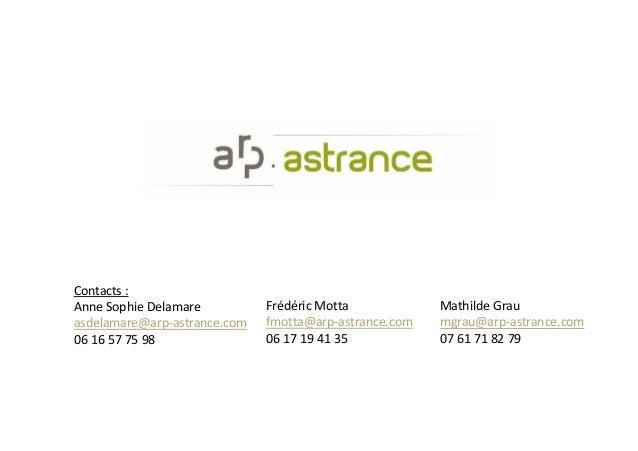 Mathilde Grau mgrau@arp-astrance.com 07 61 71 82 79 Frédéric Motta fmotta@arp-astrance.com 06 17 19 41 35 Contacts : Anne ...