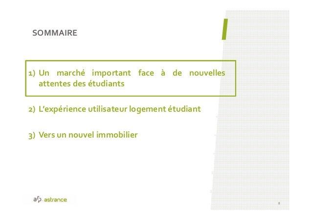 1) Un marché important face à de nouvelles attentes des étudiants 2) L'expérience utilisateur logement étudiant 3) Vers un...