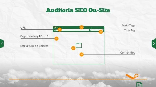 Auditoria SEO On-Site 01 05 01 04 02 03 06 URL Page  Heading  H1  -‐H2 Estructura  de  Enlaces Meta  Tags Tit...