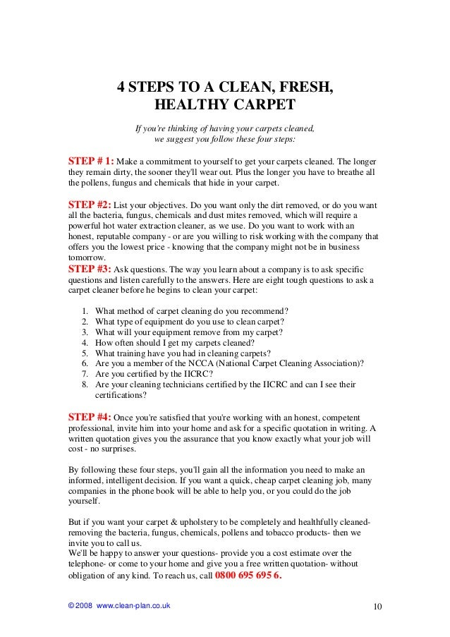 Carpet Cleaning Free Consumer GuideClean Plan Services