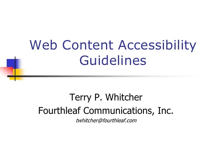 what is website accessibility guidelines