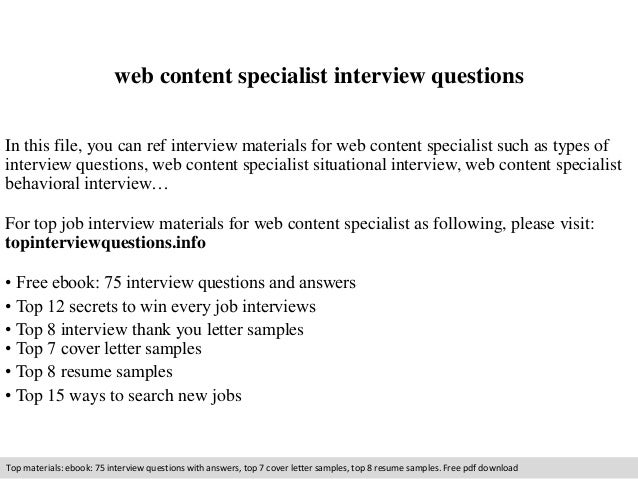 Web Content Specialist Interview Questions In This File, You Can Ref  Interview Materials For Web ...