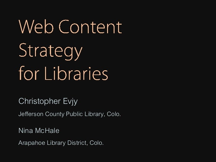 Christopher EvjyJefferson County Public Library, Colo.Nina McHaleArapahoe Library District, Colo.