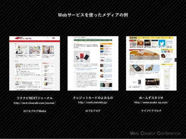 メディアを作れるWebサービス はてなブログ http://hatenablog.com/guide ⃝ はてな記法、マークダウンなど書きやすい記法 ⃝ 役立つ記事であればアフィリエイトもOK ⃝ AmazonアソシエイトIDやiTunesアフ...