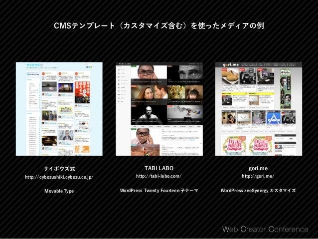 インストール型CMSでメディアを作るならWordPressがオススメ WordPress https://ja.wordpress.org/ ⃝ インストール直後からブログ投稿がすぐできる ⃝ 日本語環境でのCMSシェア85.6%でダントツの ...