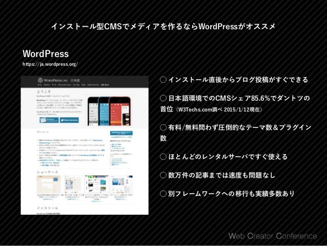 まずは公式テーマを探してみて Free WordPress Themes https://wordpress.org/themes/ ⃝ 全部無料 ⃝ テーマレビューチームが安全性や汎用的に使え るかどうかをチェック済み ⃝ 野良テーマには悪質...